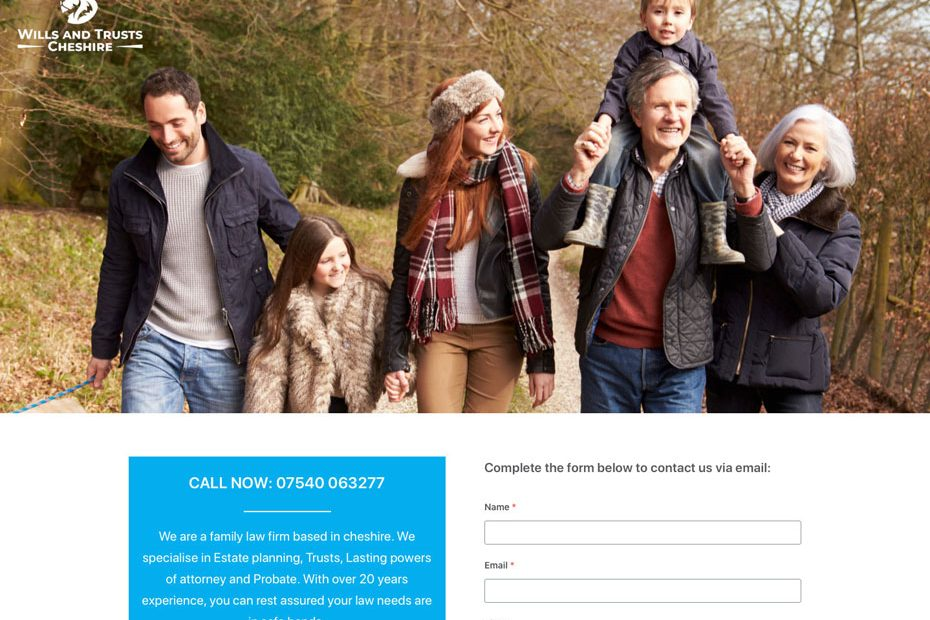 Wills and Trusts Cheshire Website | Cropped Home Page