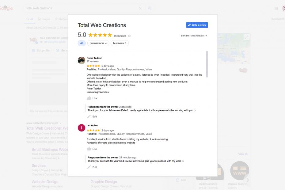 More 5* Google Reviews | Total Web Creations