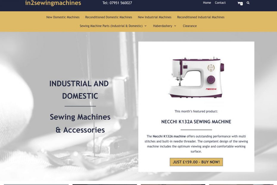 Sewing Machines Ecommerce Website | In2sewingmachines - working with Total Web Creations