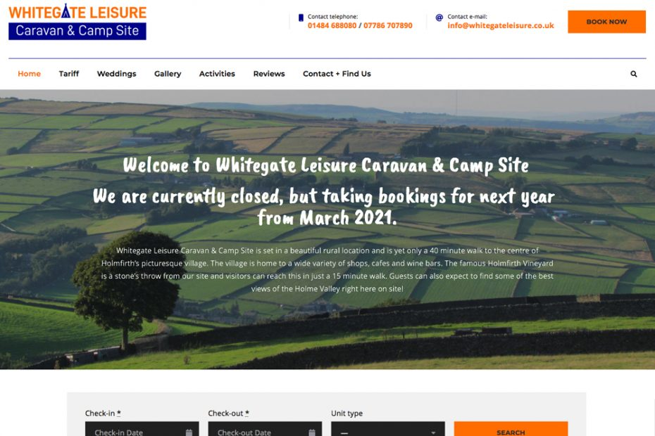 Whitegate Leisure Caravan & Camp Site | Working with Total Web Creations | Website Home Page Preview