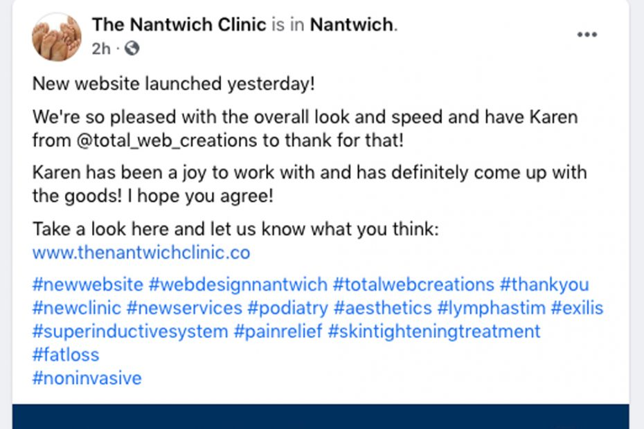 The Nantwich Clinic   Working with Total Web Creations   Website Update